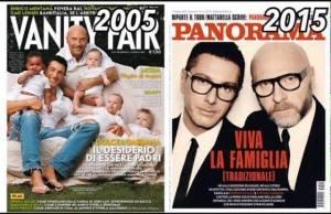 le due copertine di Vanity Fair (2005) e Panorama (2015)